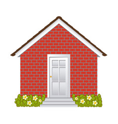 comfortable facade house with garden without vector image