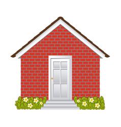 Comfortable facade house with garden without vector