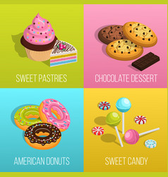 Confectionery concept icons set vector