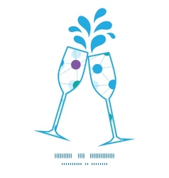 Connected dots toasting wine glasses silhouettes vector
