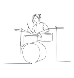 Continuous one line drawing woman playing drums vector