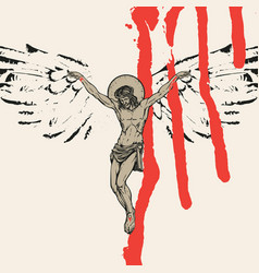 Crucified jesus christ with wings and blood drips vector