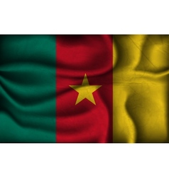 crumpled flag of Cameroon on a light background vector image