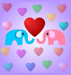 cute elephants and hearts vector image