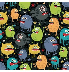 Cute monsters seamless texture with stars vector image