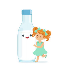 Cute redhead little girl and funny milk bottle vector
