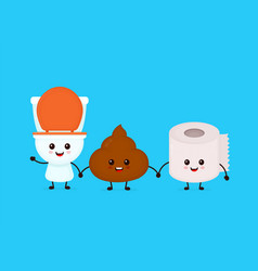 cute smiling happy funny pooptoilet paper vector image