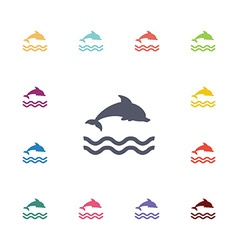 Dolphin flat icons set vector