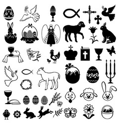 easter greeting icon set vector image