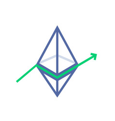 Ethereum value growth like profit surge vector