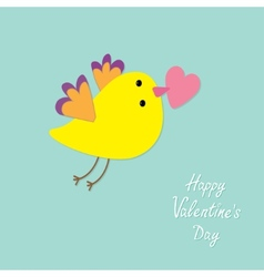 Flying bird with heart Flat design style Happy vector