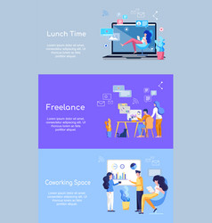 freelance coworking space lunch time office idea vector image