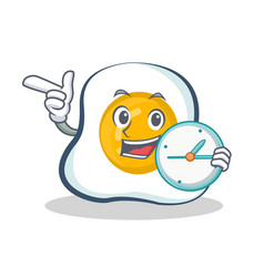 Fried egg character cartoon with clock vector