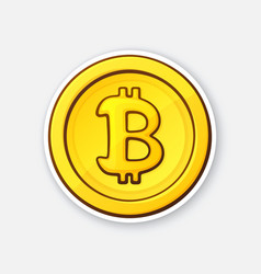 gold coin with bitcoin sign crypto currency vector image
