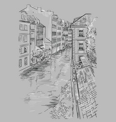 Grey hand drawing prague vector