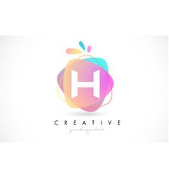 H letter logo design with vibrant colorful splash vector