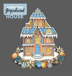 Hand drawing christmas gingerbread house vector