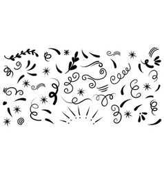 Hand drawn set abstract doodle elements use vector