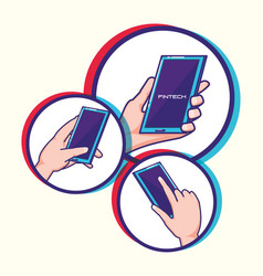 Hand using smartphones with fintech concept vector