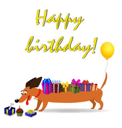 Happy birthday greeting card with dachshund vector