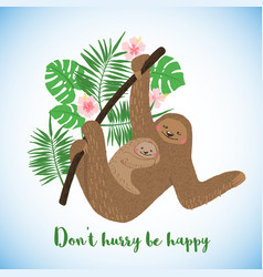 Happy mothers day card with cute sloths vector