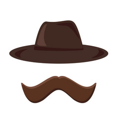 hat and mustache retro icon hipster style vector image