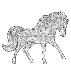 Horse hand drawn ornament vector image