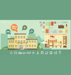 Hotel building in summer vacation best choise vector