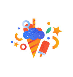 ice cream and popsicle sweet desserts vector image