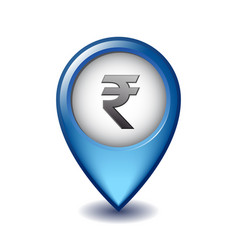 Indian rupee symbol on mapping marker icon vector