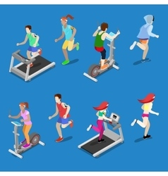 Isometric People Running on Treadmill in Gym vector image