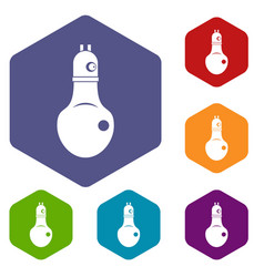 Lamp icons set hexagon vector