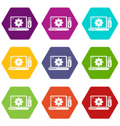 laptop repair icons set 9 vector image