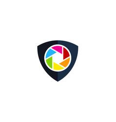 lens shield logo icon design vector image