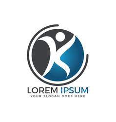 letter k people logo design vector image