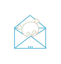 line e-mail letter message with danger skull virus vector image