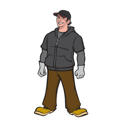 man painted in cartoon style character for the vector image