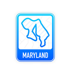 Maryland - us state contour line in white color vector