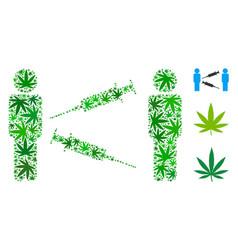 men syringe exchange composition of hemp leaves vector image