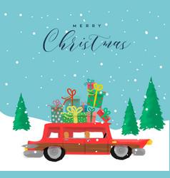 Merry christmas cartoon card funny car gift vector