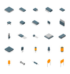 microchip computer electronic components icons set vector image