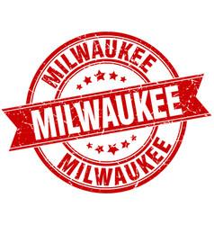 Milwaukee red round grunge vintage ribbon stamp vector