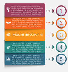 Modern strips infographics 5 options banner vector