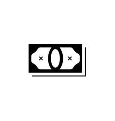 money icon black on white background vector image