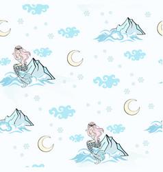 mountain mermaid new year seamless pattern vector image