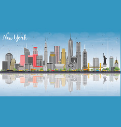 New york usa skyline with gray buildings blue sky vector