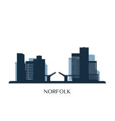 norfolk skyline monochrome silhouette vector image