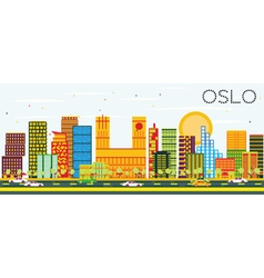 Oslo Skyline with Color Buildings vector image vector image