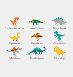Paper stickers cute funny dinosaurs vector