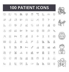 Patient line icons signs set outline vector